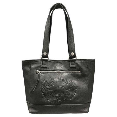 Genuine Leather Women's Embossed Winged Skull Soft Leather Tote Bag, Black