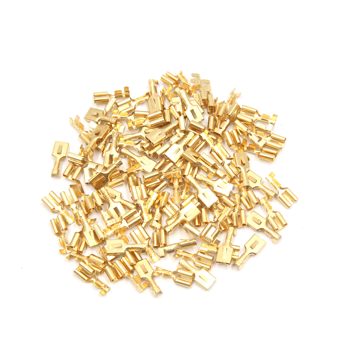 100Pcs Gold Tone Electric Wires Female Spade Connector Terminal for Car Vehicle
