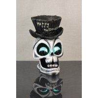 "11"" Black and White LED Lighted Spooky Skull with Top Hat Happy Halloween Candy Dish"
