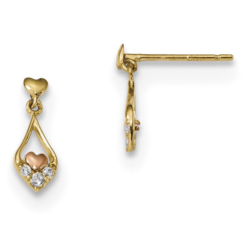 14k Yellow Gold Flower Cubic Zirconia Cz Post Stud Earrings Drop Dangle