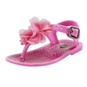Stepping Stones Baby Girls Light Pink Glitter Flower Thong Sandal / Jelly Sandals with Backs-Size 3 Infant Toddler Flip Flops For Causal or Dress