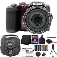Nikon Coolpix B500 16MP Digital Camera + Extra Batteries + Top Accessories Plum
