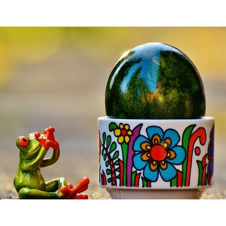 Laminated Poster Riesenei Surprised Frog Colorful Easter Easter Egg Poster Print 24 X 36