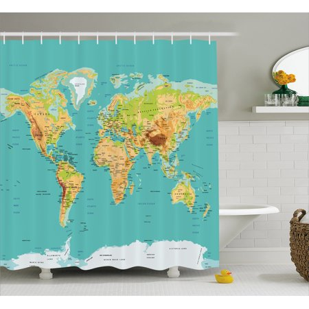 Map Shower Curtain Of The World Geography Continents And Countries Physical Cartography Image