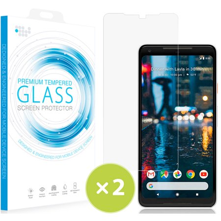(Pixel 2 XL Tempered Glass, 2X Nakedcellphone 9H Hard Clear Screen Protector Crack Saver for Google Pixel 2 XL)