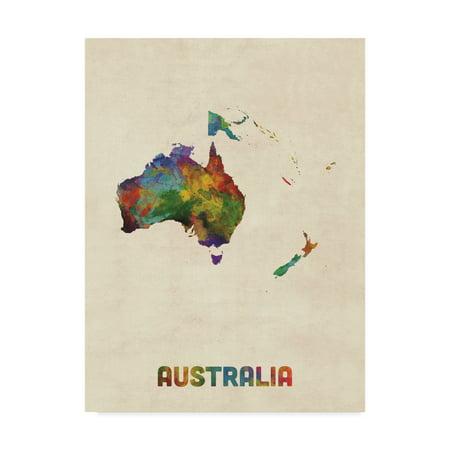 Australia Map Art.Trademark Fine Art Australia Continent Watercolor Map Canvas Art By Michael Tompsett