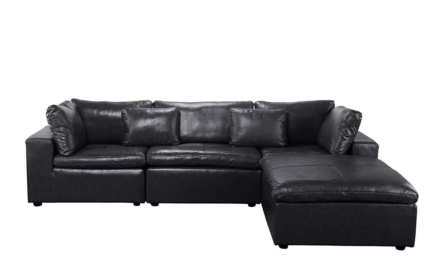 Large Leather Sectional Sofa, L Shape Couch with Wide Chaise ...