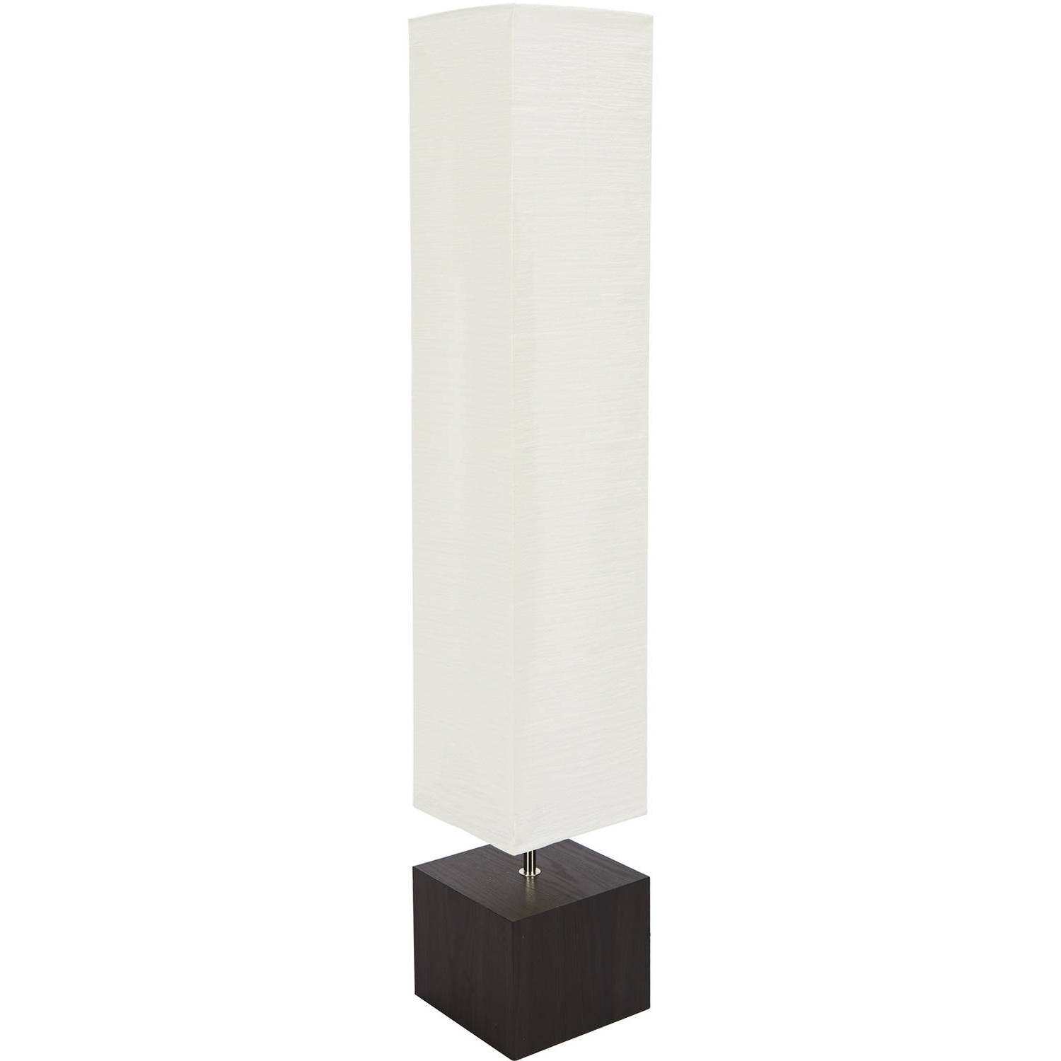 Mainstays White Rice Paper Floor Lamp With Dark Wood Base Image 3 Of 3