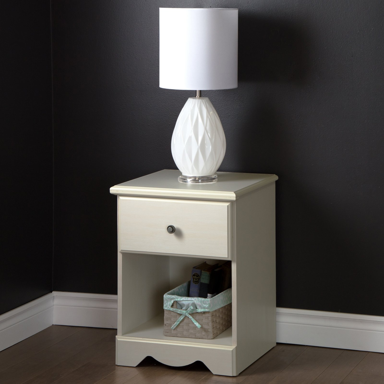South Shore Country Poetry 1-Drawer Nightstand, White Wash