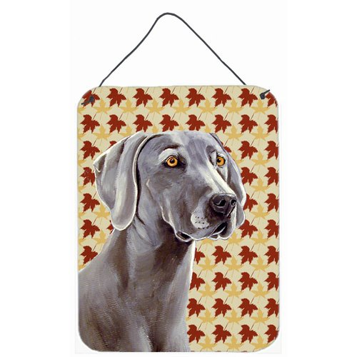 Caroline's Treasures Weimaraner Fall Leaves Portrait by Lyn Cook Graphic Art Plaque