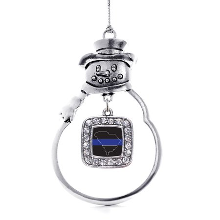 South Carolina Thin Blue Line Classic Charm Snowman Holiday Ornament