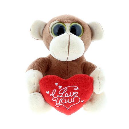 Super Soft Plush Dollibu Brown Monkey Big Eye I Love You Valentines (Plush Valentine Monkey)