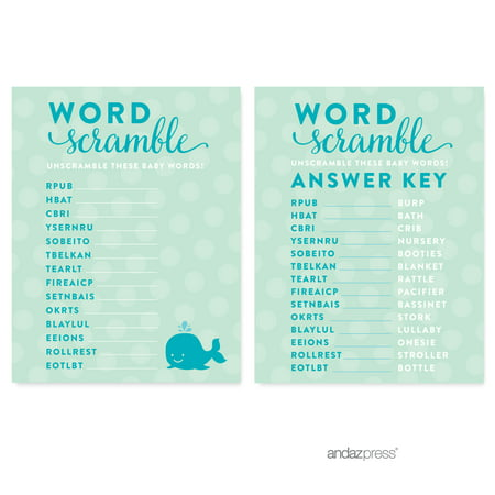 Word Scramble  Boy Whale Nautical Baby Shower Games, 20-Pack