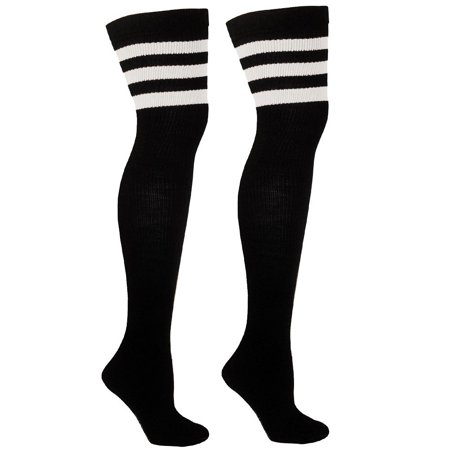 Thigh High Socks with Stripes | Over the Knee Socks For Costumes | Made In USA - Black/White CA7125