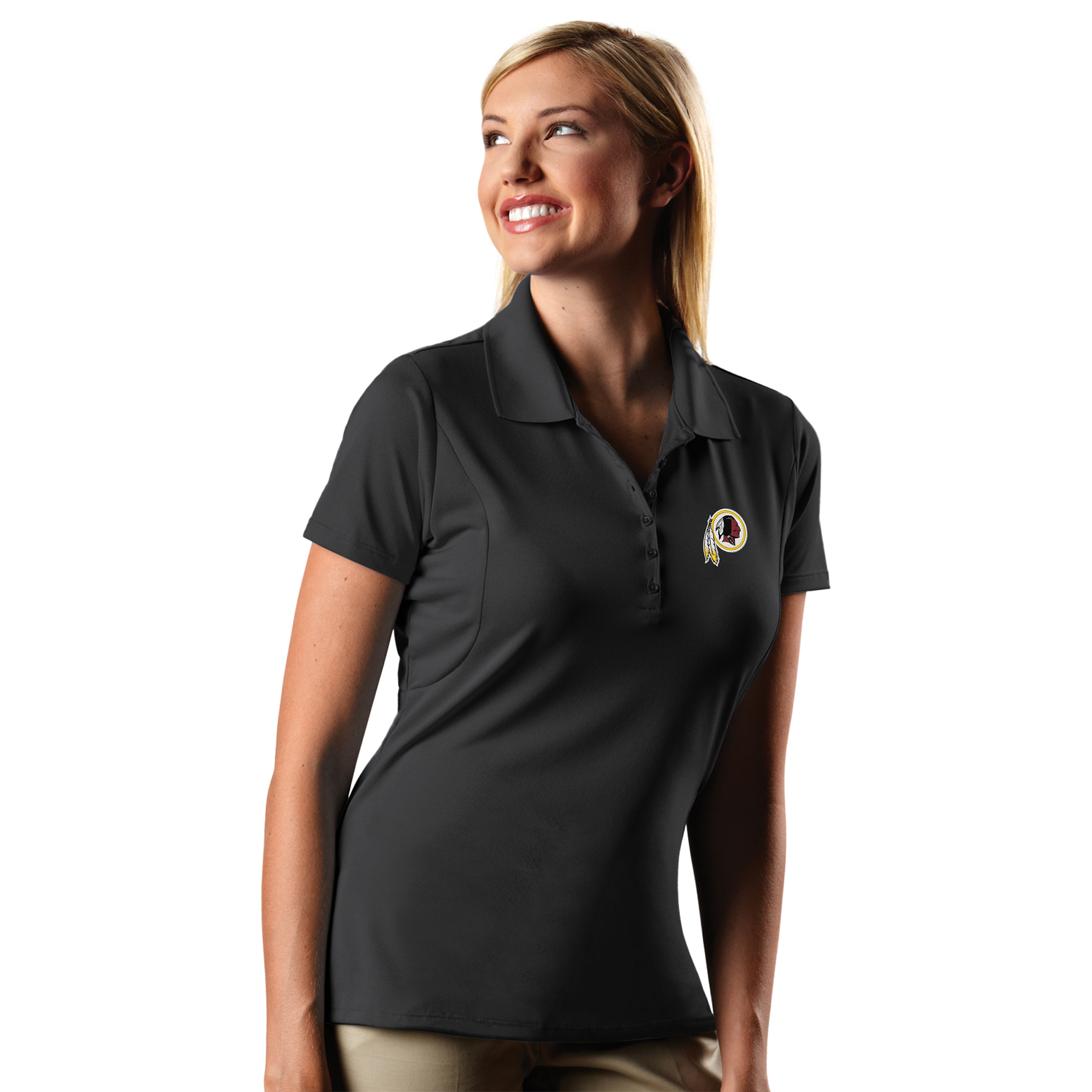 Washington Redskins Antigua Women's Pique Xtra-Lite Polo - Charcoal