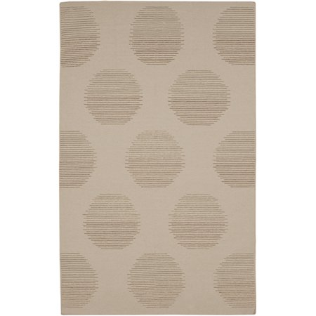 3.5' x 5.5' Filtered Sun Silhouette Mocha Brown and Olive Reversible Hand Woven Wool Area Throw Rug