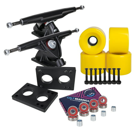 Cal 7 Longboard Skateboard Combo Package with 70mm Wheels & 180mm Lightweight Aluminum Trucks, Bearings Complete Set & Steel Hardware (Black Trucks, Solid Yellow (Best Skateboard Wheels For Rough Roads)