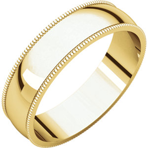 10K Yellow 5mm Light Milgrain Band