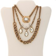Gold-Tone Oval Drop Fashion Trio Statement Necklace, Convertible 3-in-1 Necklace