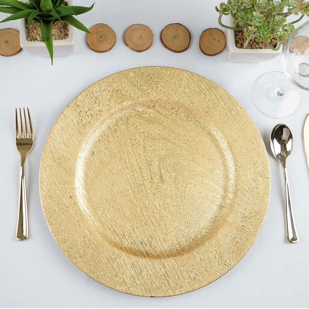 "Efavormart 13"" Round Wooden Textured Acrylic Charger Plates Wedding Party Dinner Servers - Set of 6"