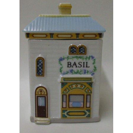 "New Basil Spice Jar – ""The Lovely Spice Village"" – Fine Porcelain Spice Jar by , 1989, Fine Porcelain. Exquisite details & quality craftsmanship. By Lenox"