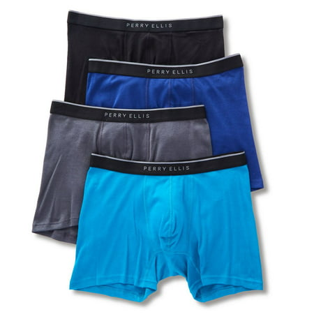 Perry Ellis Portfolio 4 Pack 1X1 Rib Cotton Boxer Brief