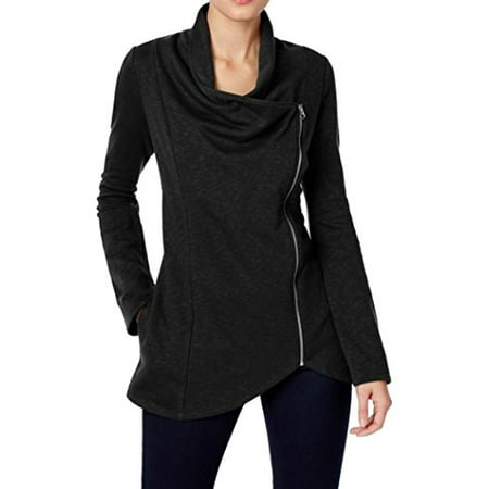 65eedb454e INC International Concepts - INC Womens Draped Full-Zipped Two-Pocket  Cardigan Sweater (Black