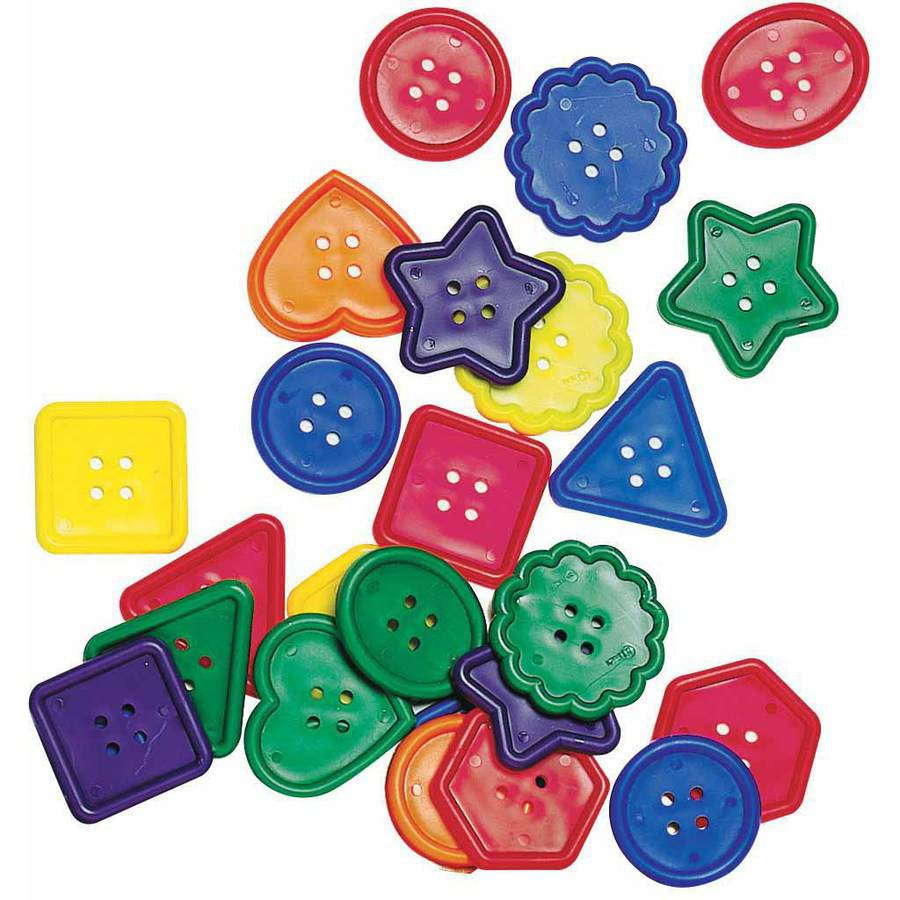 Chenille Kraft Assorted Shape Really Big Button, Assorted Colors, Pack of 60