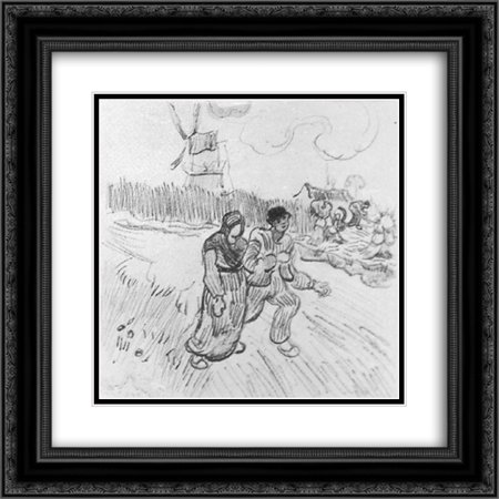 Vincent van Gogh 2x Matted 20x20 Black Ornate Framed Art Print 'Couple Arm in Arm and Other Figures, with a Windmill in the Background'