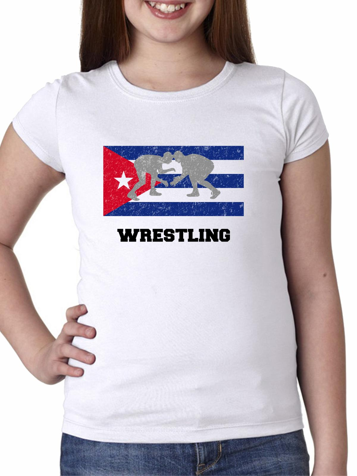 Cuba Olympic Wrestling Flag SilhouetteYou Girl's Cotton Youth T-Shirt by Hollywood Thread