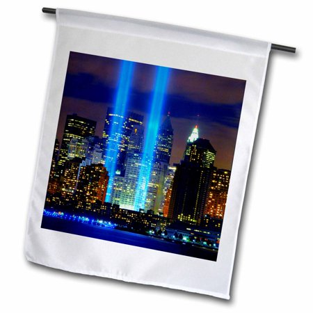 3dRose Beautiful photograph of the Twin Towers 911 Memorial Lights Never Forget - Garden Flag, 12 by