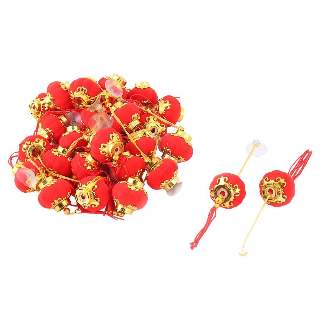 Gold Tone Hem Tassels Decor Suction Cup Chinese Red Lantern Adorn x 30