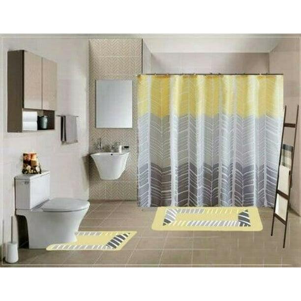 Soft Stylish Boutique 15pc Bathroom Set Sonia Yellow Design Washable Non Slip Includes 2 Bath Rug Math 1 Shower Curtain 12pc Rings Walmart Com Walmart Com