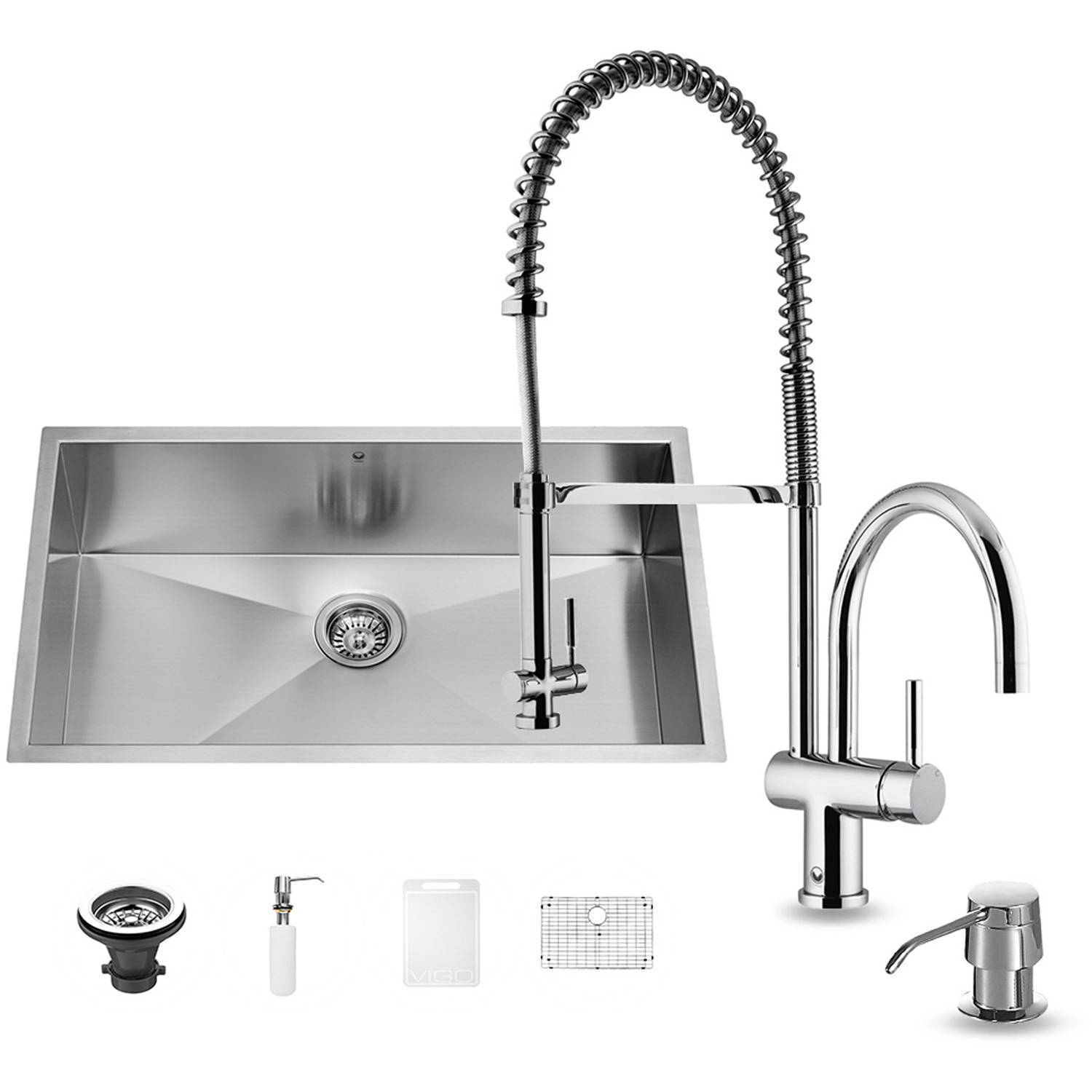 "Vigo All-in-One 30"" Undermount Stainless Steel Kitchen Sink and Chrome Faucet Set"