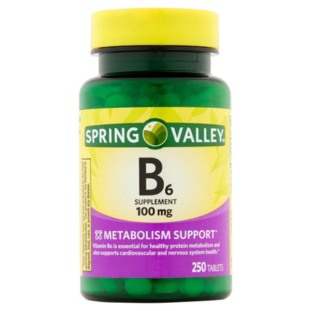 Spring Valley Vitamin B6 Tablets, 100 mg, 250 Ct