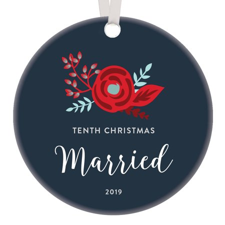 Best Holidays For Couples (10th Christmas Married Keepsake Ornament 2019 Decade Together Dated Milestone Anniversary Gift Couple Partner Best Friends Unique Handwritten Script & Flower 3