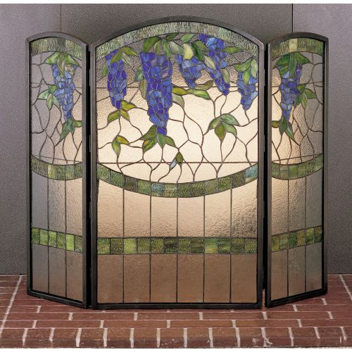 Meyda Tiffany 27235 Stained Glass   Tiffany Fireplace Screen from the Floral Ele by Meyda Tiffany