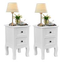 Costway 2PCS White Night Stand  w/ 2 Storage Drawers, Wood End Accent Table