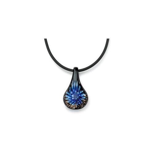 PalmBeach Jewelry 48322 Teardrop-Shaped Blue and Black Glass Sterling Silver Clasp Pendant and Black Rubber Cord