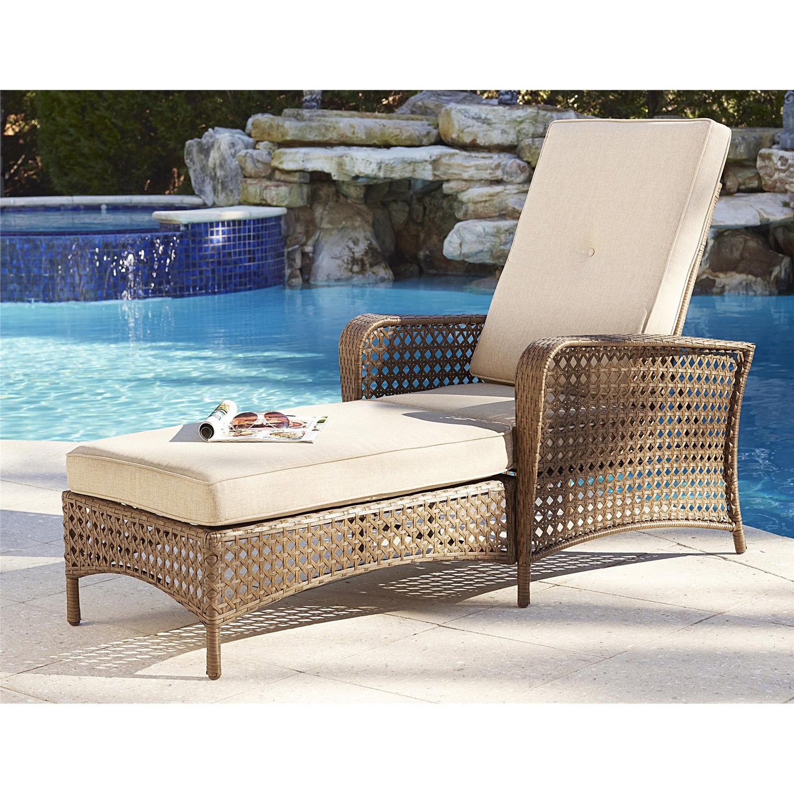 Cosco Outdoor Adjustable Chaise Lounge Chair Lakewood Ranch Steel Woven Wicker Patio... by Cosco