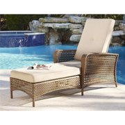 Cosco Lakewood Ranch Steel Woven Wicker Outdoor Chaise Lounge, Brown