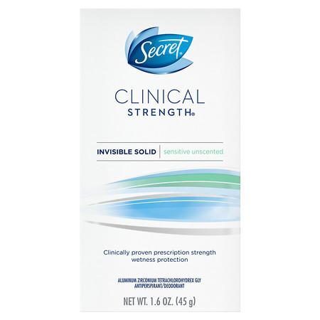 Secret Clinical Strength Invisible Solid Women's Antiperspirant & Deodorant Sensitive/Hypoallergenic Unscented 1.6 oz.(pack of 2)
