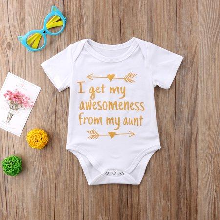 Infant Baby Boys Girls Short Sleeve Aunt Bodysuit Romper Outfit Clothes Boys Short Sleeve Romper