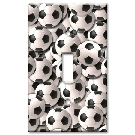 Art Plates brand - Single Gang Toggle Wall Plate - Sports: Soccer Balls
