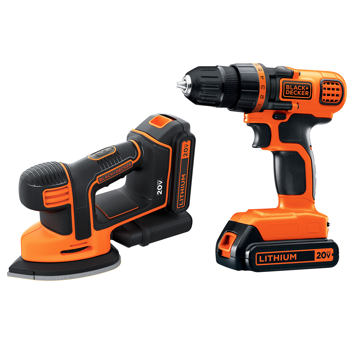 BLACK+DECKER BD2KITCDDS 20V Max* 2-Tool Drill/Driver and Mouse Sander Combo