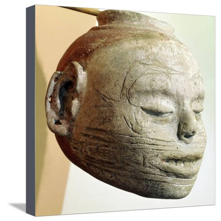 Pottery effigy-head vessel with the forked or winged eye motif, Mississippian, Arkansas, c1000 AD Stretched Canvas Print Wall Art By Werner