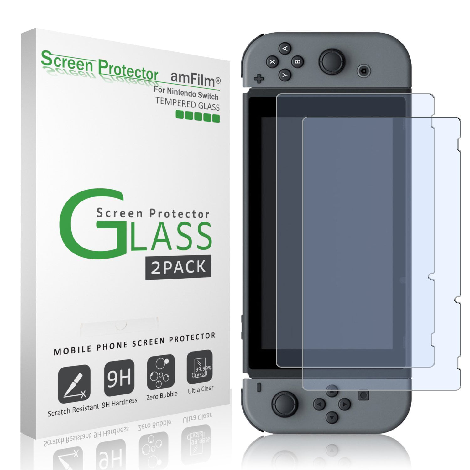 nintendo switch screen protector glass 2pack amfilm nintendo switch tempered glass screen protector for nintendo switch walmartcom