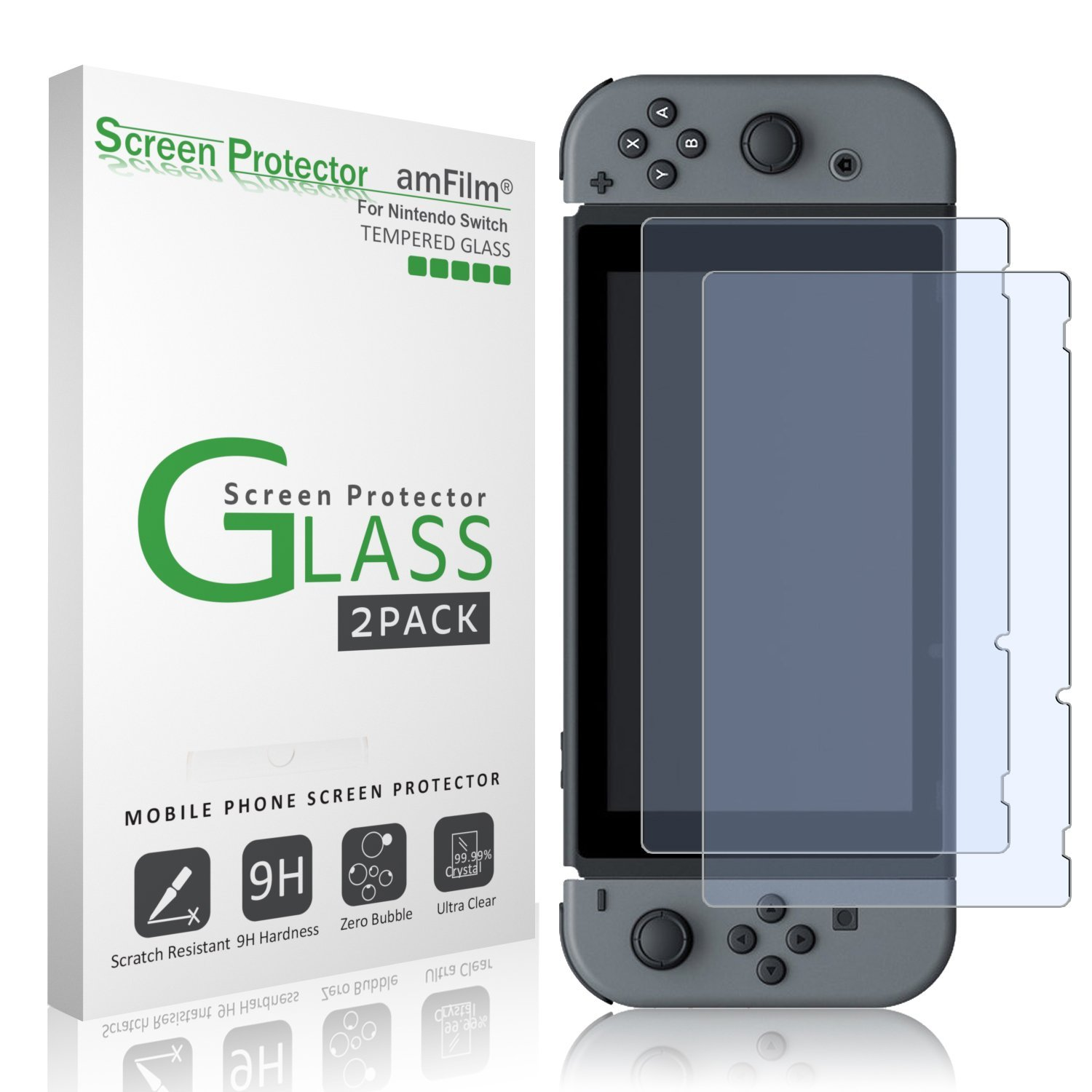 Nintendo Switch Screen Protector Glass (2-Pack), amFilm Nintendo Switch Tempered Glass Screen Protector for Nintendo Switch 2017