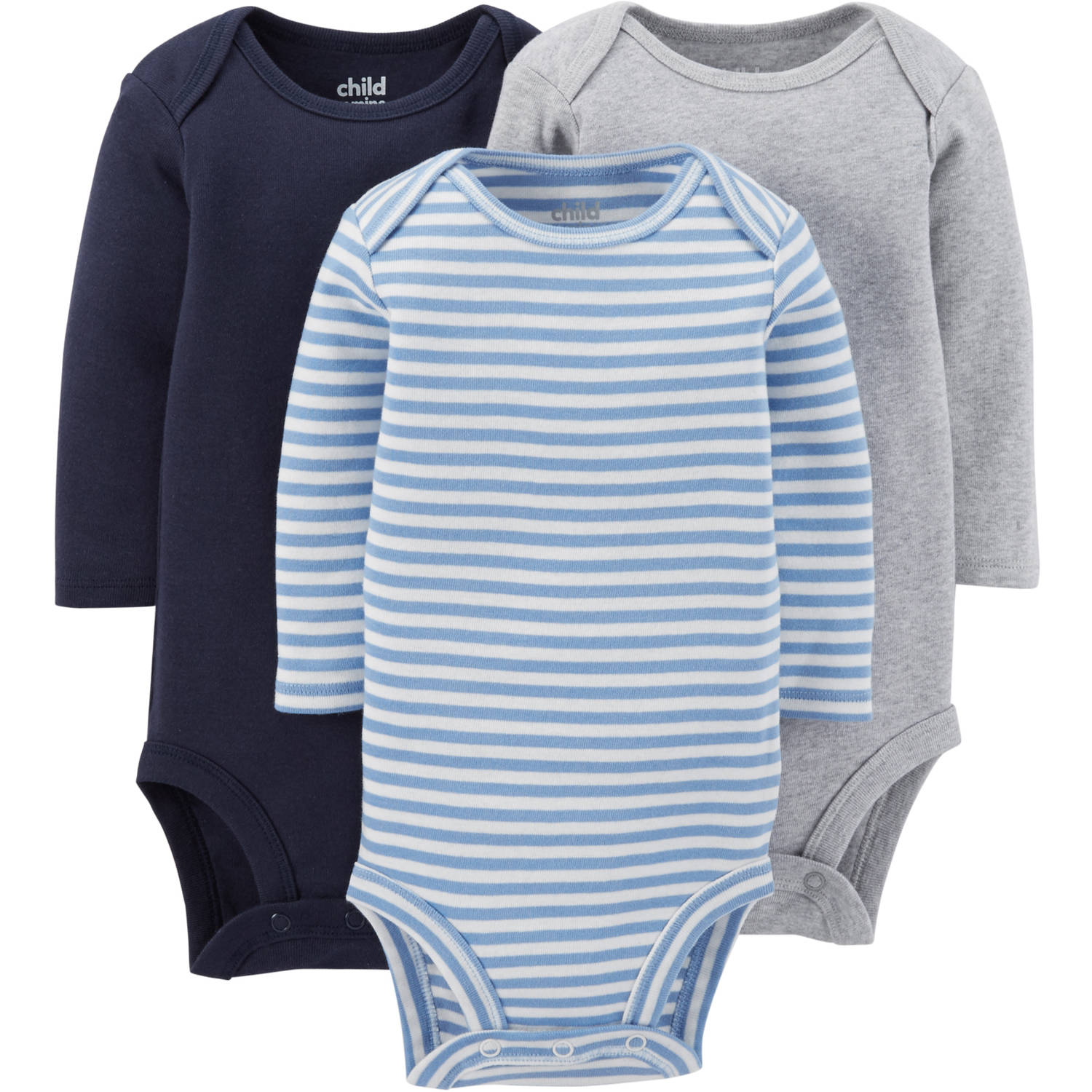 Child Of Mine By Carter's Newborn Baby Boy Long Sleeve Bodysuit, 3 Pack