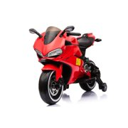 Electric 12V Kids Mini Bike Ride On Toys Bluetooth Motorcycle, LED Wheels and Trianing Wheels, Support Up to 66 lbs, Red